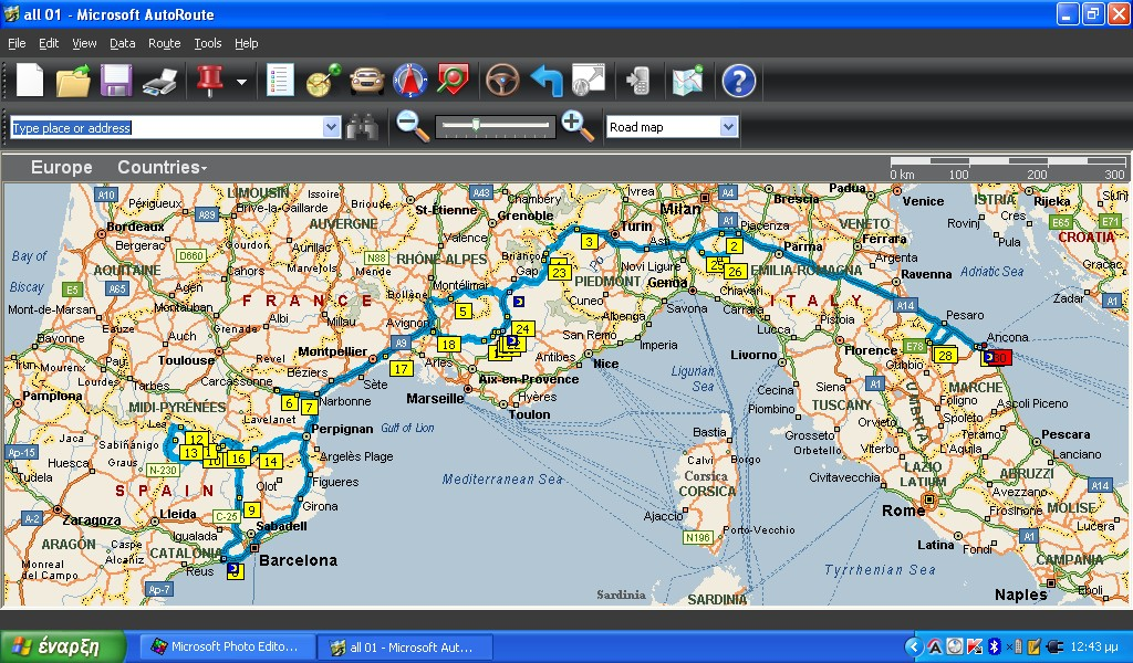 auto route map Ancona to Spain